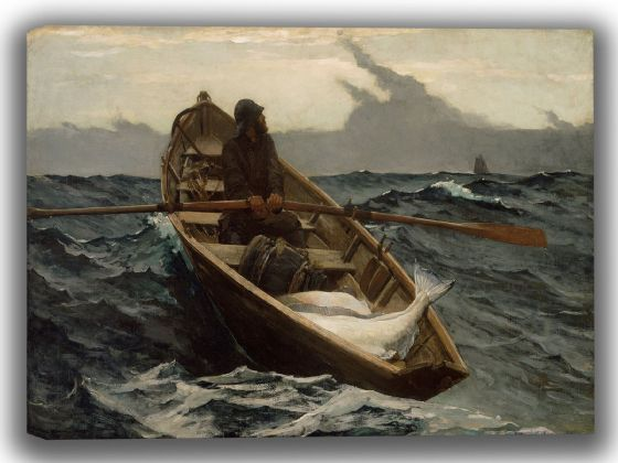 Homer, Winslow: The Fog Warning/Halibut Fishing. Fine Art Canvas. Sizes: A4/A3/A2/A1 (0051)